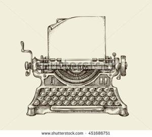 stock-vector-hand-drawn-vintage-typewriter-sketch-publishing-vector-illustration-451686751